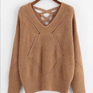 Sweaters - Crisscross eyelet back detail sweater!